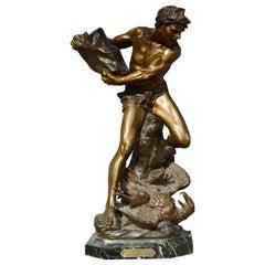 """Bronze Sculpture by Edouard Drouot """"Age de Pierre"""", 1890s"""