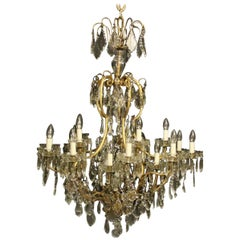 French Large Gilded and Crystal 21 Light Birdcage Antique Chandelier
