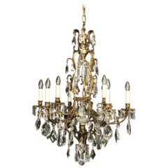 French Gilded Bronze and Crystal 10-Light Birdcage Antique Chandelier