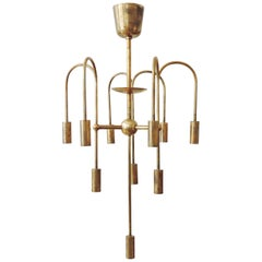 Rare Arch, Melchiorre Bega Brass Ceiling Lamp, Italy, 1939