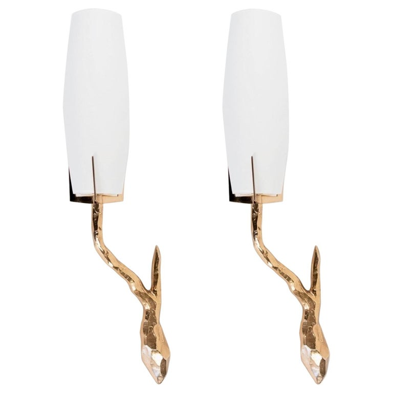 1960s Pair of Gilded Bronze Arlus Sconces For Sale