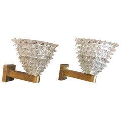 Pair of Murano Glass and Brass Rostrato Wall Lights Sconces