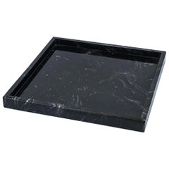 Squared Black Marquina Marble Tray