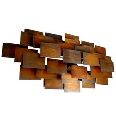 Large Midcentury Brutalist Cubist Copper Sculpture Sconce, Gio Ponti Era