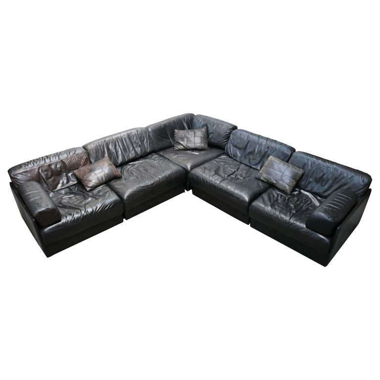 Rare Vintage Swiss De Sede Model DS-76 Black Leather Modular Sofa Daybed DS76 For Sale