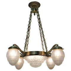 French Art Deco Chandelier by Hettier & Vincent