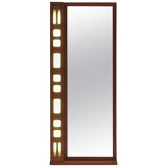 Mid-Century Modern Scandinavian Mirror in Teak, with Light