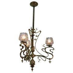 19th Century Electrified Art Nouveau Gas Chandelier