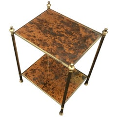 Maison Baguès, Eglomised Side Table in Brass and Glass