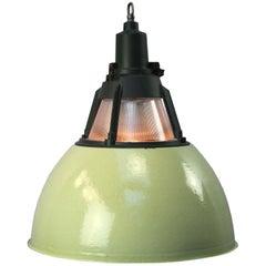 Green Enamel Vintage Industrial Holophane Glass Pendant Lights (5x)