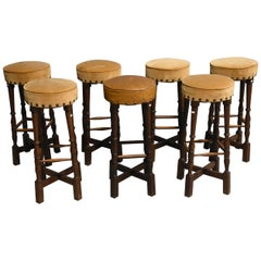 Suite of 7 Bar Stools Oak Neo Rustic Style, circa 1960