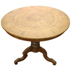 19th Century Italian Louis Philippe Walnut Inlay Center Table or Pedestal Table