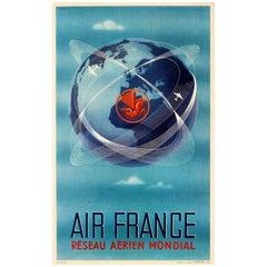 Original Vintage Air France Poster Reseau Aerien Mondial World Air Network Globe