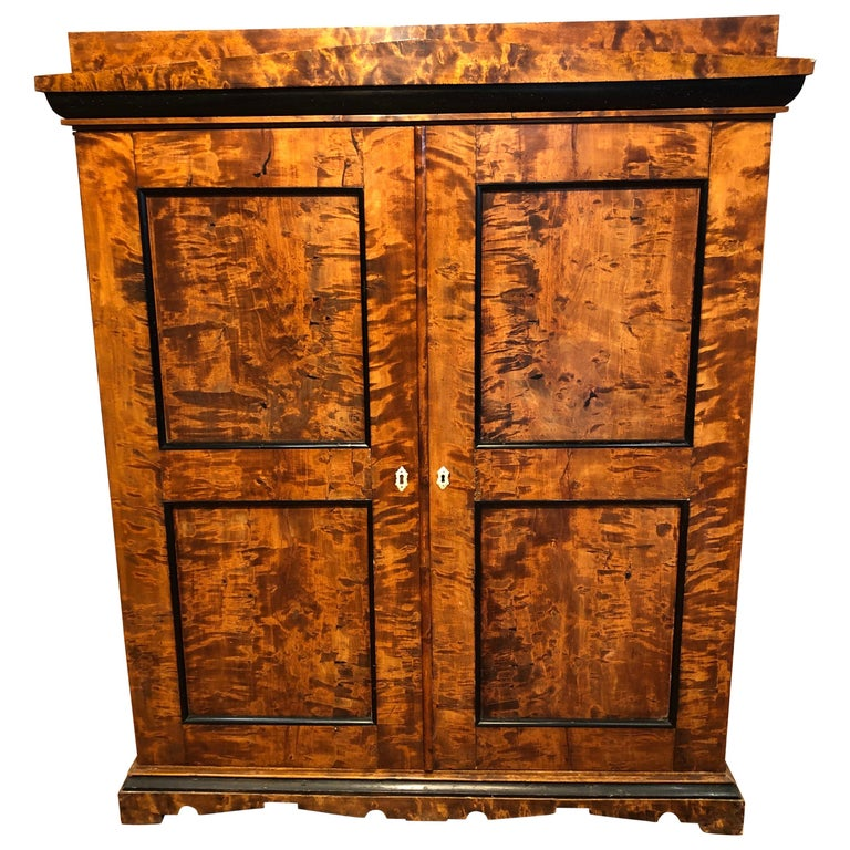 19th Century Biedermeier Birchwood Sweden Secretaire and Armoires ,1830s For Sale
