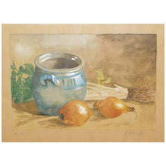 Belgian Still Life Water Color Painting of Vegetables, Dated 1941