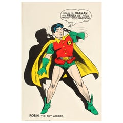 Original Vintage Comic Book Superhero Poster Robin The Boy Wonder Hold It Batman