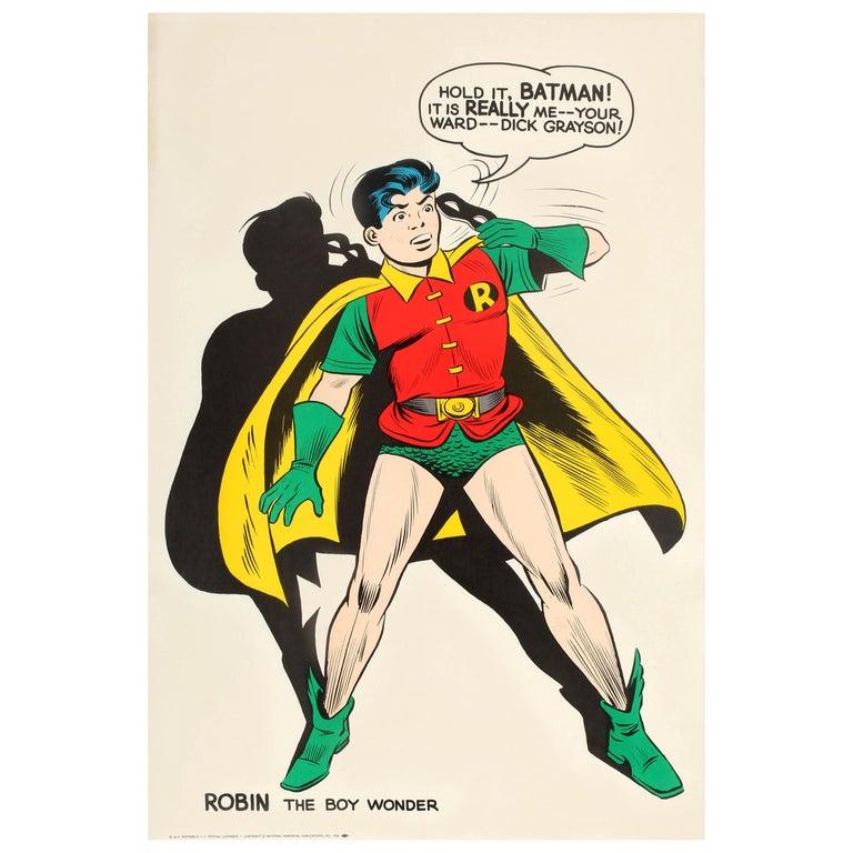 b12cd05217a6 Original Vintage Comic Book Superhero Poster Robin The Boy Wonder Hold It  Batman For Sale