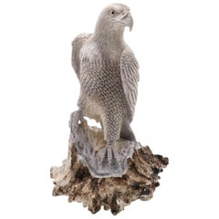 Very Detailed and Large North American Moose Antler Carving of Eagle
