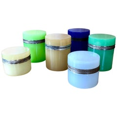 Set of 6 Vintage Murano Glass Colored Boxes