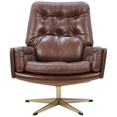1970s Danish Leather Swivel Chair