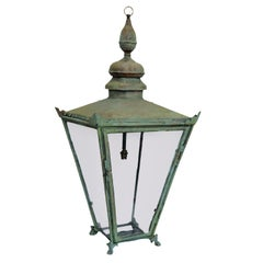Large English Verdigris Copper Hanging Lantern, circa 1860