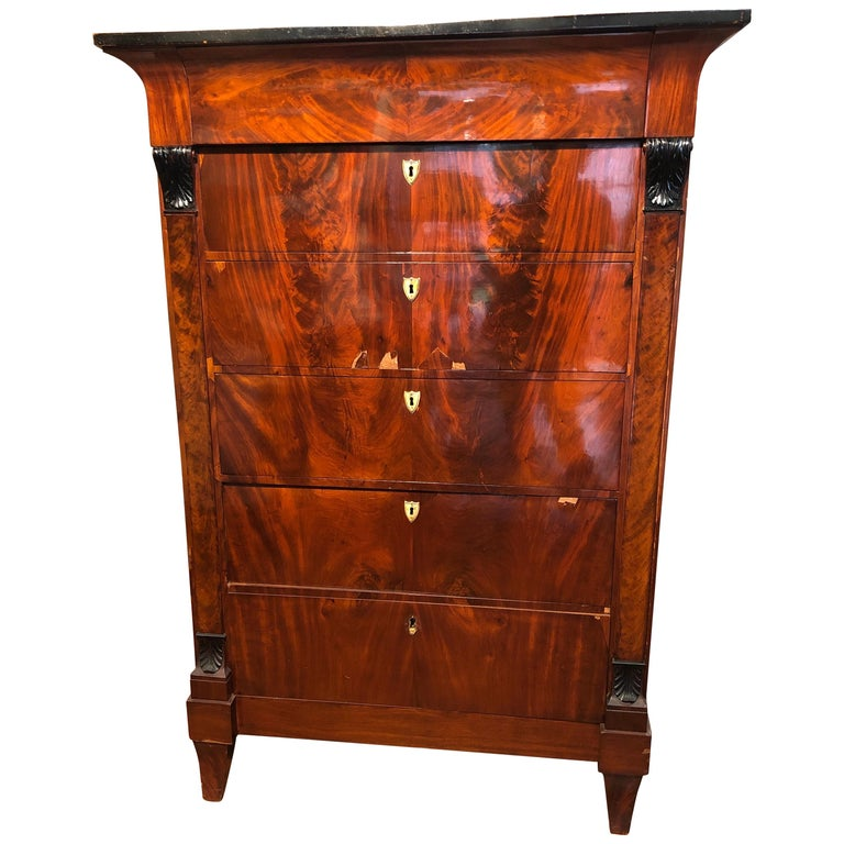 19th Century Biedermeier Mahogany German Tallboy Six Drawers, 1830s For Sale