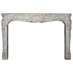 18th Century Fine European Vintage Marble Hard Stone Antique Fireplace Mantel