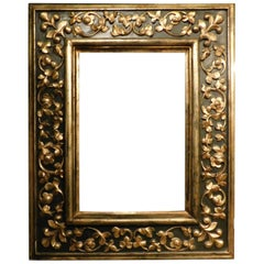 19th Century Antique Frame Carved and Decorated with Golden Floral Motifs