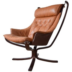 Sigurd Ressel Cognac Winged Falcon Chair from Vatne Møbler