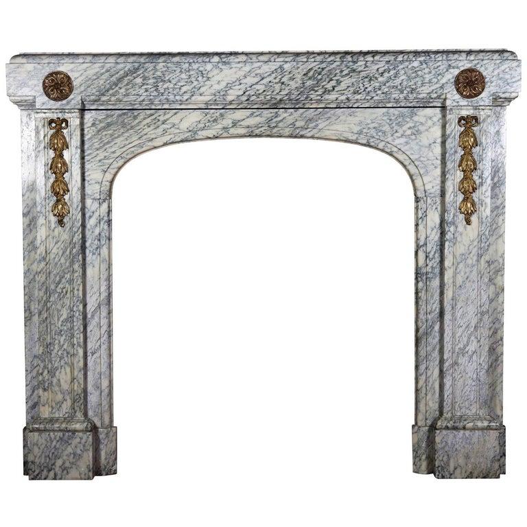 20th Century Green Art Deco Belgian Antique Fireplace Mantel For Sale