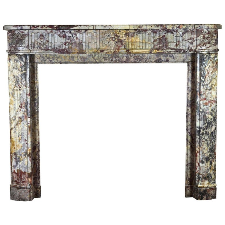 18th Century Fine Royal French Saracolin Marble Vintage Fireplace Mantel For Sale