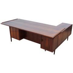 Mid-Century Modern Scandinavian Large Desk in Rosewood by Arne Vodder