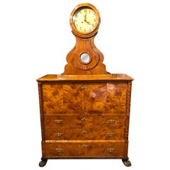 19th Century Biedermeier Birch Root Sweden Secretaire with Clock, 1867s