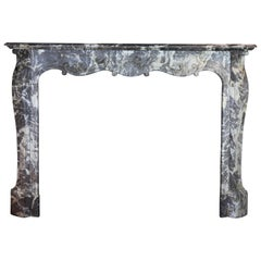 19th Century Regency Style Belgian Grey Marble Antique Fireplace Piece