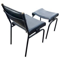 Jacques Adnet Leather Chair with Matching Footstool