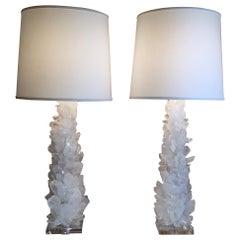Pair of Fantastic White Quartz Crystal Table Lamps