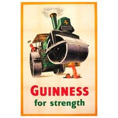 Original Vintage Guinness Stout Drink Poster Guinness For Strength Steamroller