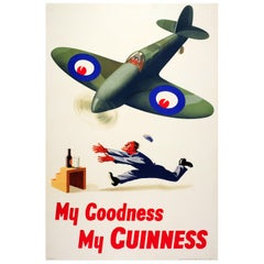 Original Vintage My Goodness My Guinness Poster Drink Race RAF Spitfire Design