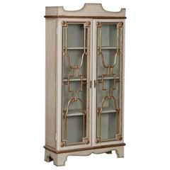 Antique Painted Swedish Vitrine or Bookcase Cabinet