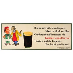 Large Original Vintage Guinness Is Good for You Poster Alice in Wonderland Theme