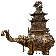 Massive Japanese Meiji Bronze Elephant and Pagoda Incense Burner