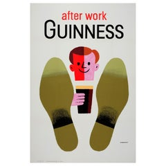 Original Vintage Irish Stout Drink Poster Guinness After Work Midcentury Design