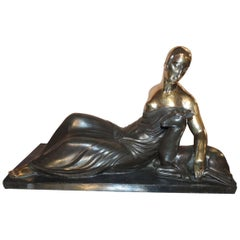 French Art Deco Golden Bronze Sculpture by Gaston Beguin