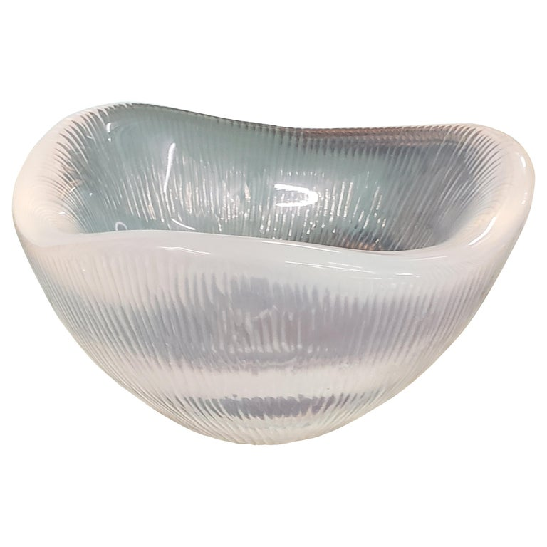 Rare Opalescent Orrefors Battuto Bowl by Sven Palmqvist For Sale