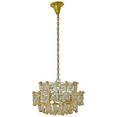 Gilt Brass and Crystal Glass Chandelier from Palwa, 1960s Labeled by Palwa