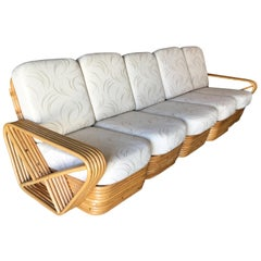 Restored Paul Frankl Style Six-Strand Square Pretzel Five-Seat Sectional Sofa