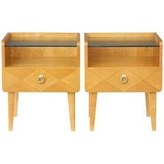 Pair of 1960s Scandinavian Elm Bedside Tables