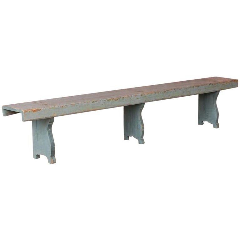 Long Antique Gray Painted Country Pine Bench For Sale