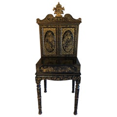 Exquisite Antique Chinese Export Gilt Decorated Black Lacquer Cabinet on Stand