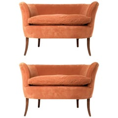 Pair of Sculptural 1940s Curved Leg French Settees or Loveseats